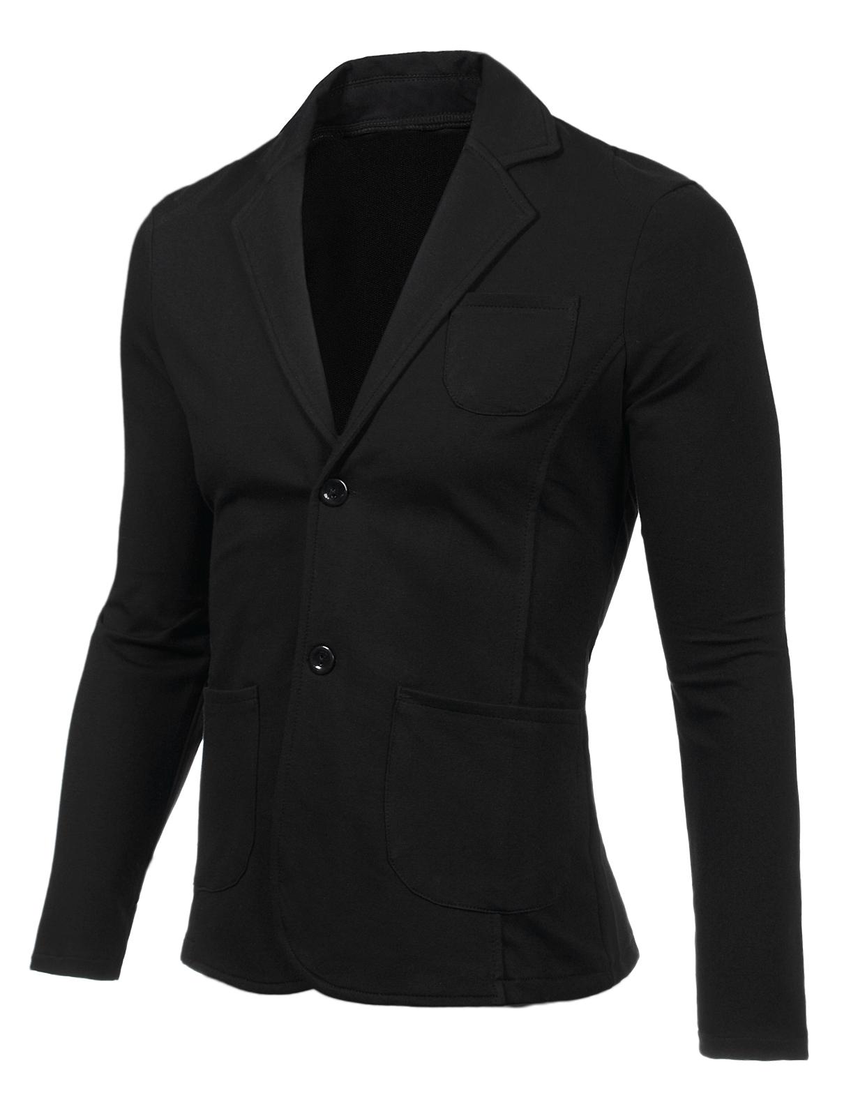 Мъжко черно елегантно памучно сако